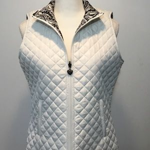 Dress Barn White Reversible Quilted Vest Size M